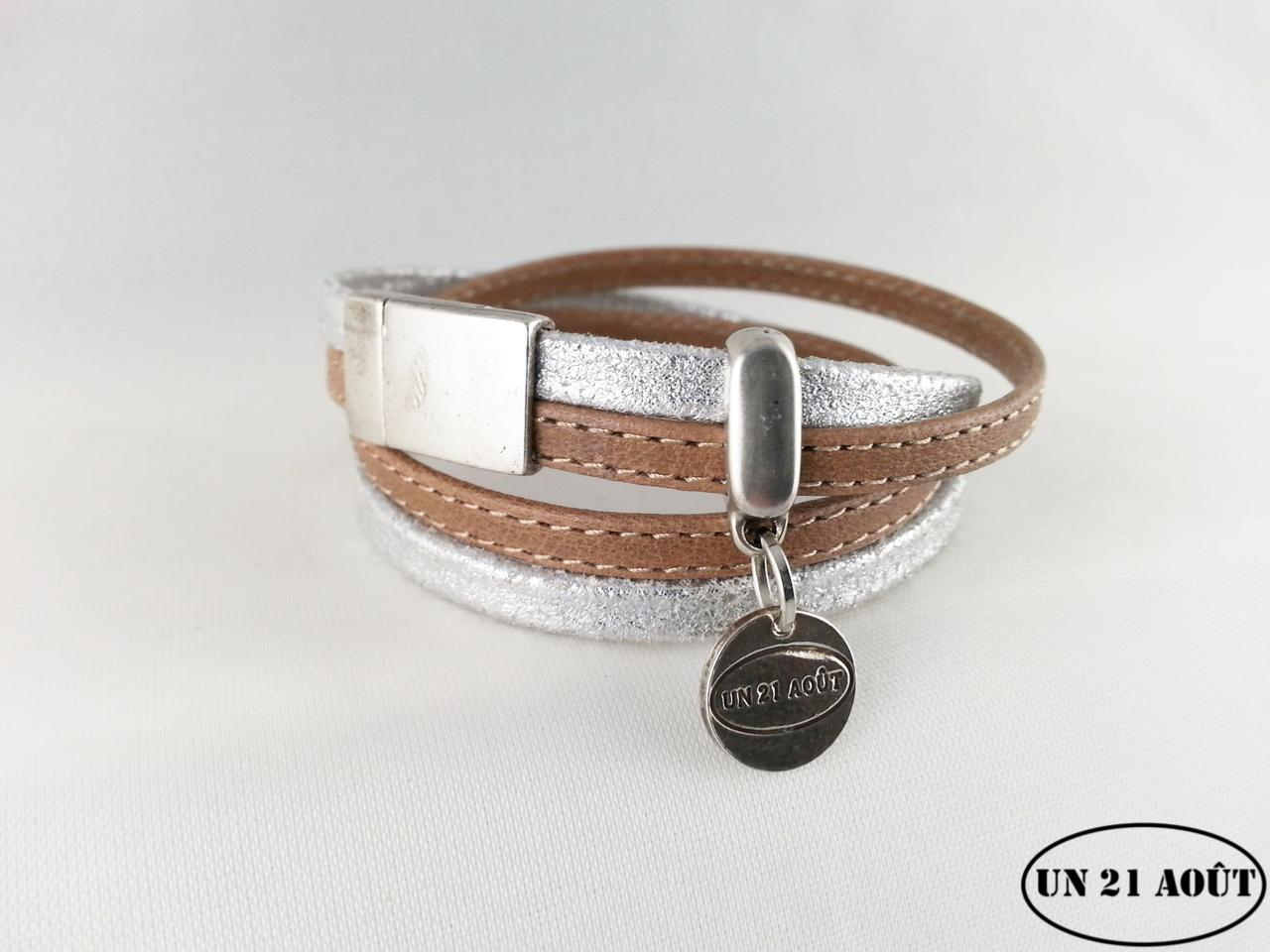 prix attractif marque célèbre rechercher l'original Bracelet femme cuir surpiqué marron et argent